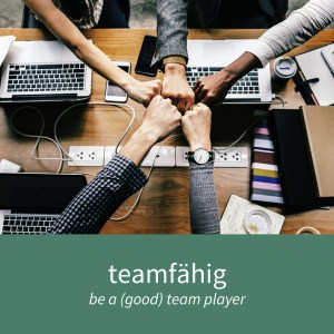 """Image showing five people working as a team and the caption """"teamfähig - be a (good) team player"""""""