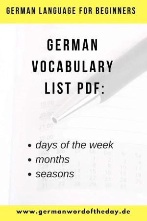 German days, months and seasons vocabulary list pdf