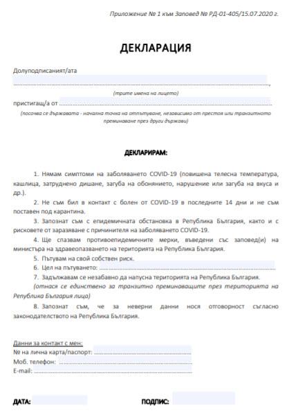 Приложение № 1 към Заповед № РД-01-405/15.07.2020 г.