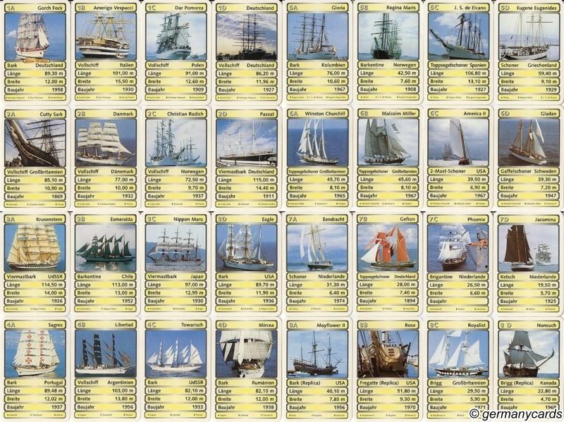 S Quartett Kartenspiel Berliner 1997 Segelschiffe  germanycards