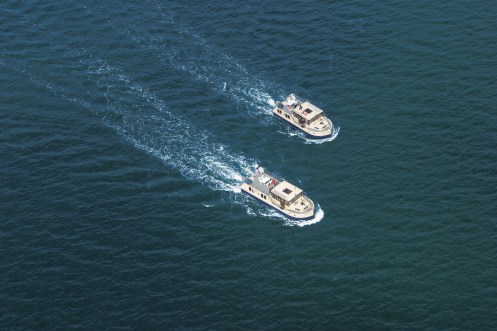 aerial view of two cruisers on Muritz lake