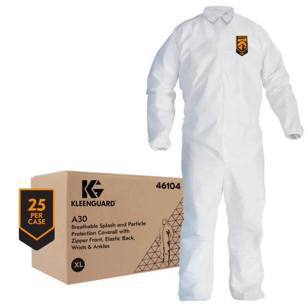 KLEENGUARD™ A30 BREATHABLE SPLASH & PARTICLE PROTECTION COVERALLS Kleenguard A30 are designed to protect against dirt, grime and light splashes and are made with breathable Microforce barrier fabric. This protective apparel features an intricate web of micro-fibers that filter out many water-based liquids and dry particulates.  iFLEX stretch panels build in freedom of movement and Reflex Coverall Design offers excellent fit (also includes elastic back) Passes NFPA 99 for antistatic (anti stat) materials