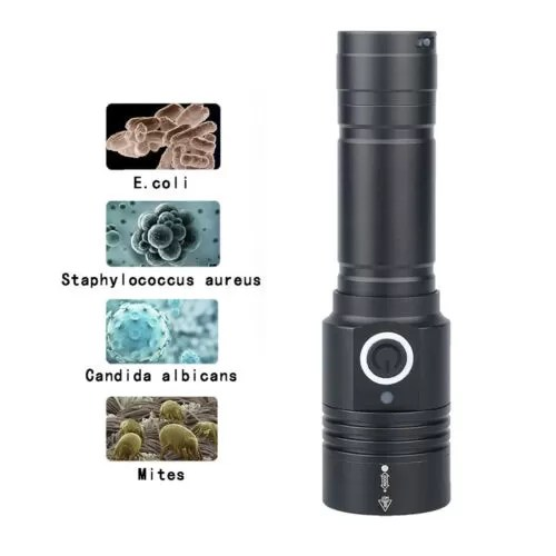 280+395nm UVC Germicidal Torch Sterilize surfaces with this powerful UVC germicidal torch that doubles as a black light to identify bodily fluids in the dark. This torch can kill up to 99.94% of eukaryotic bacteria. Comes with a micro USB charger and a rechargeable battery.