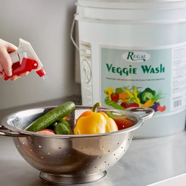 Regal Veggie Wash Fruit and Vegetable Rinse - 5 Gallon Pail Safely and effectively clean your fresh vegetables and other produce with Regal Veggie Wash.