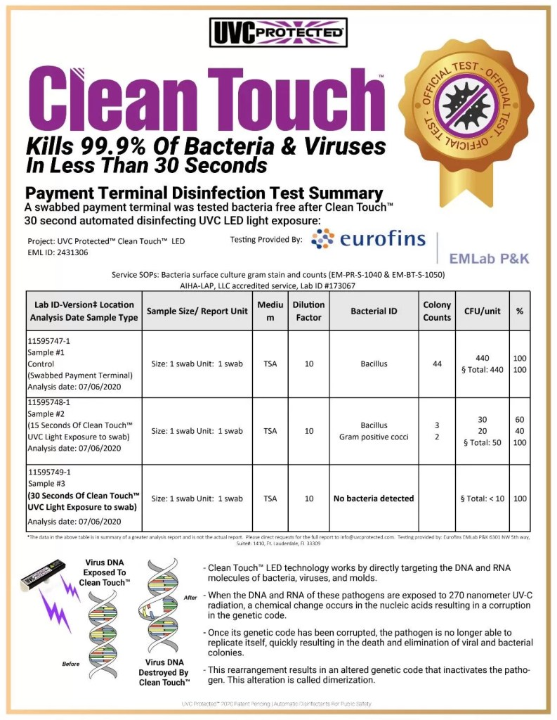 UVC Protected Clean Touch™ Disinfect high traffic touched surfaces after every use! Clean Touch™ is a patent-pending powerful new weapon in the fight against pathogenic disease spread. Utilizing the proven germicidal effects of UVC light sanitization, The Clean Touch™ delivers safely targeted blasts of cleansing UVC light over specific areas of high-touch surfaces, like payment terminals.  Contact us if you would like to place a larger order for custom pricing!