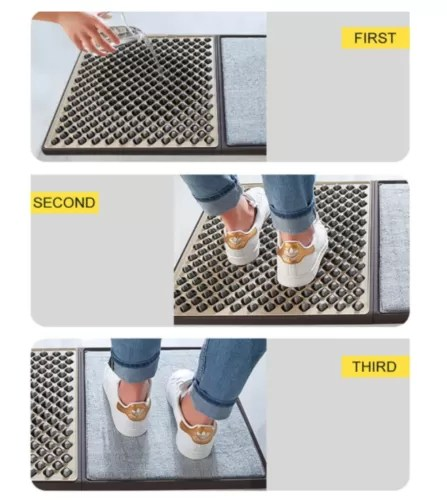 Elite Sanitizing & Disinfectant Floor Mat This is a sanitizing shoe mat which is made of high quality PVC materials for durable long time use. Our mats are the future of floor mats.  Not only will they remove the dirt from the bottom of your shoes they can sanitize as well.  Please contact us directly to ask about our special non-toxic disinfectant.