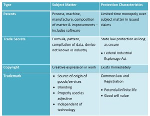 IP Protection Type by Subject Matter and Protection Characteristics