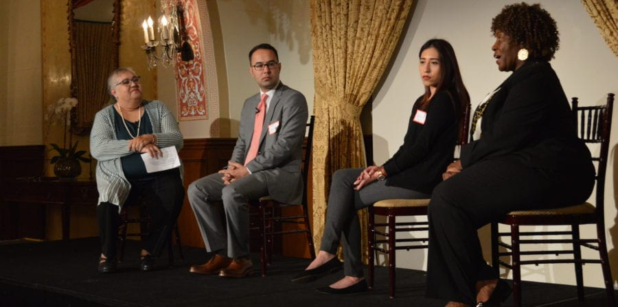 USC Gerontology alumna Laura Trejo (left) moderates a panel discussion on making L.A. an age-friendly city with USC students.