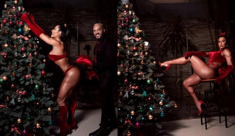Belo e Gracyanne Barbosa posam para ensaio sensual de Natal (Foto: Divulgação/Tiago Brov)