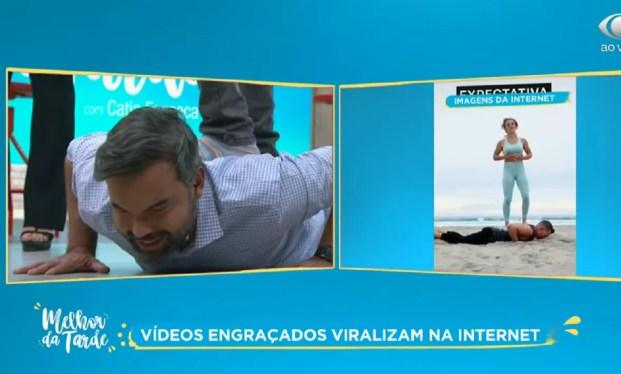 Jornalista tentou imitar vídeo e passou vergonha na Bandeirantes (Foto: Reprodução)