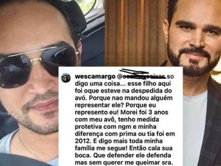 Wesley Camargo critica Luciano Camargo por não ir ao enterro do pai (Foto: Reprodução)