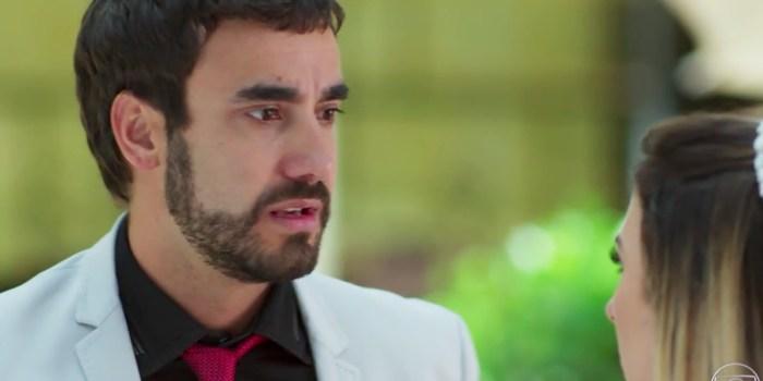 Leozinho (Gabriel Godoy) plano para matar Fedora (Tatá Werneck) e ficar com fortuna em Haja Coração (Foto: Reprodução/TV Globo)