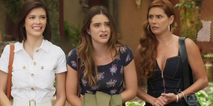 Vitoria Strada (Kyra), Juliana Paiva (Luna) e Deborah Secco (Alexia) em cena de Salve-se Quem Puder (Foto: Reprodução/TV Globo)