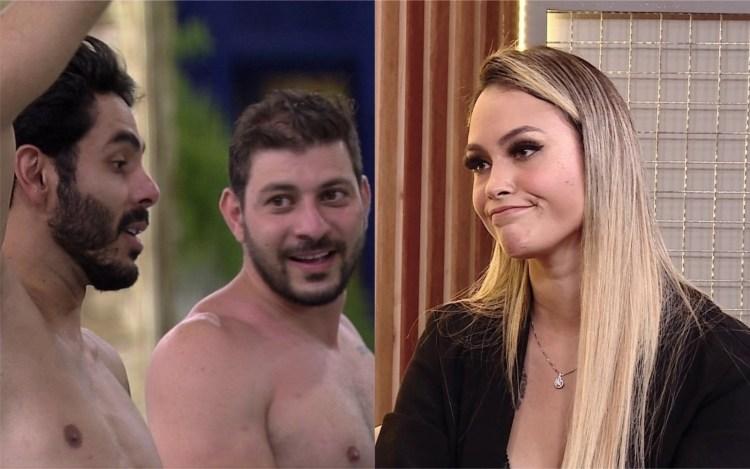 BBB21: Caio e Rodolffo comemoram  saída de Sarah (Foto: Reprodução)
