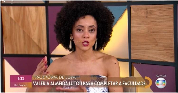 Valéria Almeida, repórter da Globo, contou sua história de superação para terminar a faculdade de jornalismo (Foto: Reprodução)