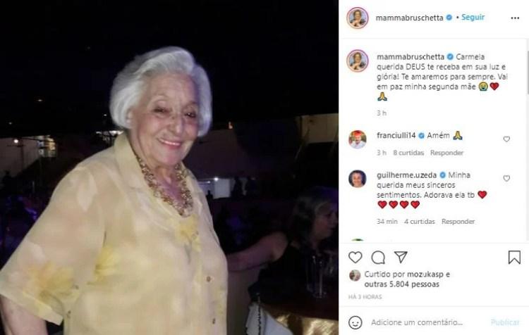 Mamma Bruschetta perdeu sua grande amiga Carmela e prestou homenagem (Foto: Reprodução)