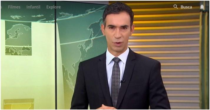 César Tralli entrou ao vivo na Globo substituindo Maju Coutinho pelo segundo dia seguido (Foto: Reprodução)