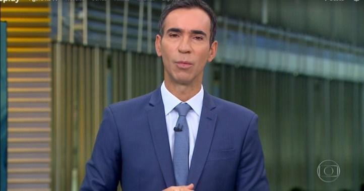 César Tralli substituiu Maju Coutinho no Jornal Hoje e chamou a atenção do público (Foto: Reprodução)