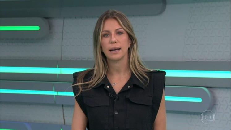 Karine Alves apresentou o Plantão Globo (Foto: Reprodução)