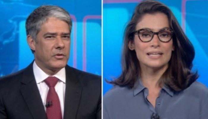 William Bonner e Renata Vasconcellos no Jornal Nacional da Globo (Foto: Reprodução)