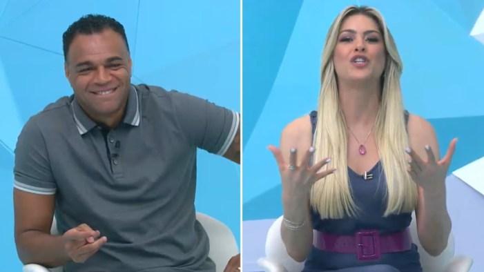 Denílson e Renata Fan já tiveram atrito nos bastidores do Jogo Aberto (Foto: Reprodução)