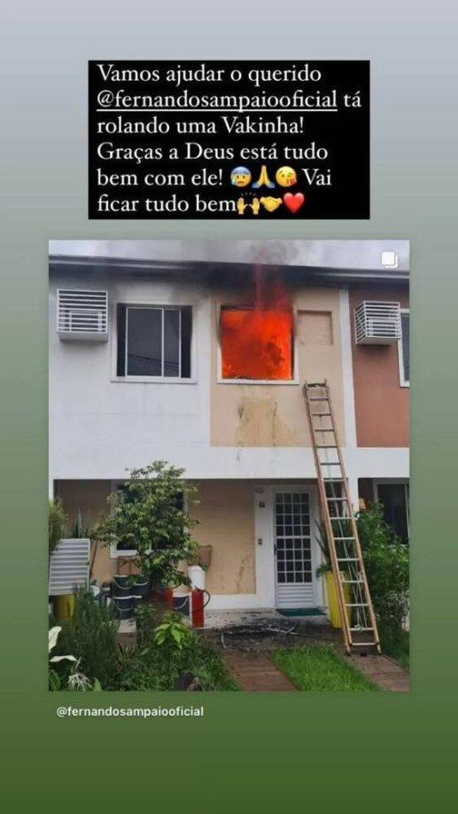Incêndio na casa do ator Fernando Sampaio (Foto: Reprodução)