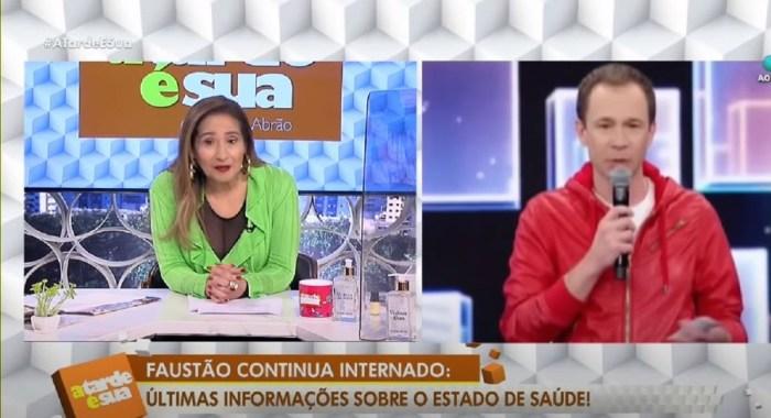 Repórter Sonia Abrão e Tiago (Foto: Reprodução)