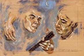 Άρης και Νικήτας, εγκαυστική, 50x70 cm, 2006 Aris and Nikitas, encaustic, 50x70 cm, 2006