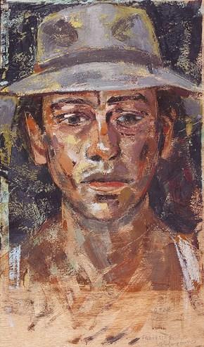 Αυτοπροσωπογραφία, εγκαυστική, 50x35 cm, 2006 Self-portrait, encaustic, 50x35 cm, 2006