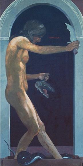 Ελεούσα, λάδι σε ξύλο 140x75 cm, 1975