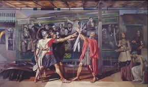 Θεόφιλος-Βελάσκεθ, ακρυλικό σε καμβά, 152x202 cm, 1976