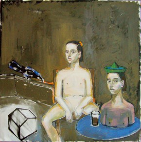 Κορίτσι-προτομή και νεσκαφέ, λάδι σε καμβά, 150x150 cm, 2009 Girg-bust qnd Nescafé, oil on canvas, 150x150 cm, 2009