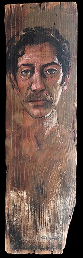 Νίκος, λάδι σε ξύλο, 70x25 cm, 1995