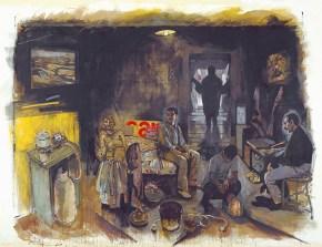 Ο θάνατος του Μαρρά, ακρυλικό σε καμβά, 260x330 cm, 2000 The death of Marat, acrylic on canvas, 260x330 cm, 2000