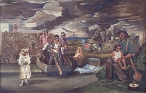 ο Όμηρος και η εγγονή του, ακρυλικό σε καμβά, 125x180 cm, 1977
