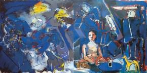 Σαββίνα με νεσκαφέ ΙΙ, λάδι σε καμβά, 150x300 cm, 2009 Sabbina with Nescafé IΙ, oil on canvas, 150x300 cm, 2009