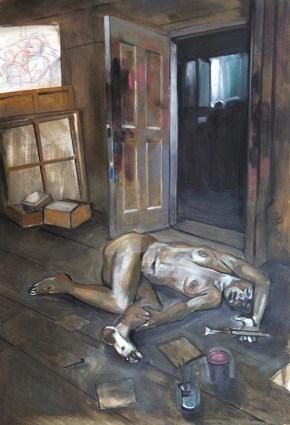 Bacon's entrance, oil on canvas, 150x100 cm, 2010