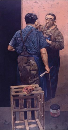 Double portrait with bacon, oil on canvas, 179x91 cm, 1978