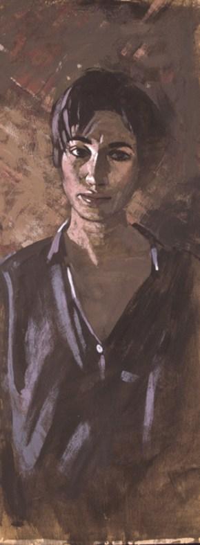 Katia at Doboli str. II, oil on wood, 70x34 cm, 1989