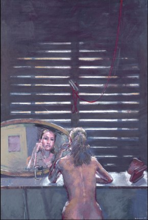 Katia with mirror, oil on canvas, 170x120 cm, 1987