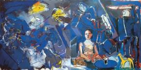 Sabbina with Nescafé IΙ, oil on canvas, 150x300 cm, 2009