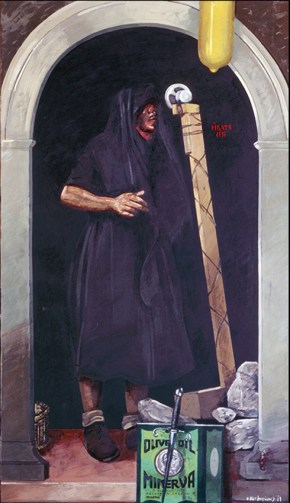Shelter, oil on canvas, 151x76 cm, 1977