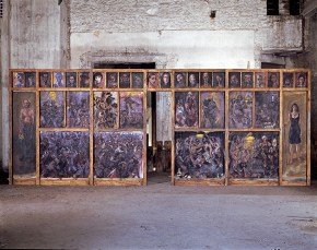 Templo (chancel screen), construction, painting, music, theatre, 3x8 m, 1994