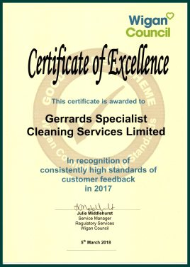 Award Winning Service from Gerrards Carpet Cleaners Wigan
