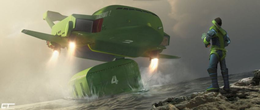 The New Thunderbird 2, Art by Chris Thompson