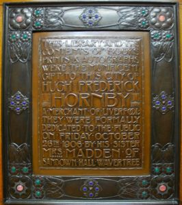 The Hornby Library: art nouveau plaque commemorating the opening