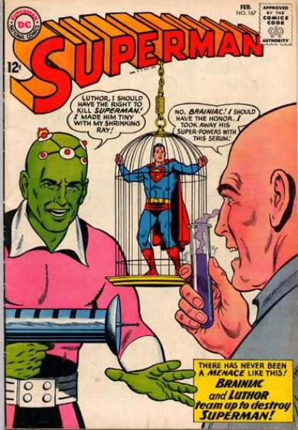 Brainiac is a far more interesting villain for Superman. Cover of the first comic book I ever bought, back in the winter of 1963.