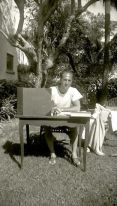 Gershwin enjoying the sunshine while orchestrating Act I of Porgy and Bess in Palm Beach, FL. February 1935.