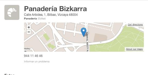 Geolocalización Panadería Bizkarra #GaldakaON gersonbeltran