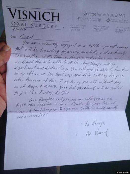 Pink slip from George Visnich, what a shame